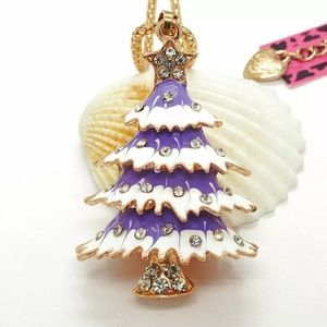 NWT Betsey Johnson Purple Christmas Tree Necklace